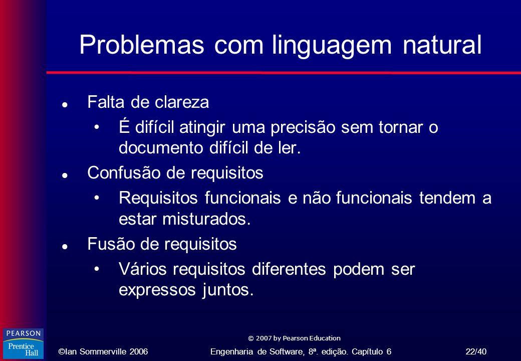 ©Ian Sommerville 2006Engenharia de Software, 8ª. edição. Capítulo 6 22/40 © 2007 by Pearson Education Problemas com linguagem natural l Falta de clare