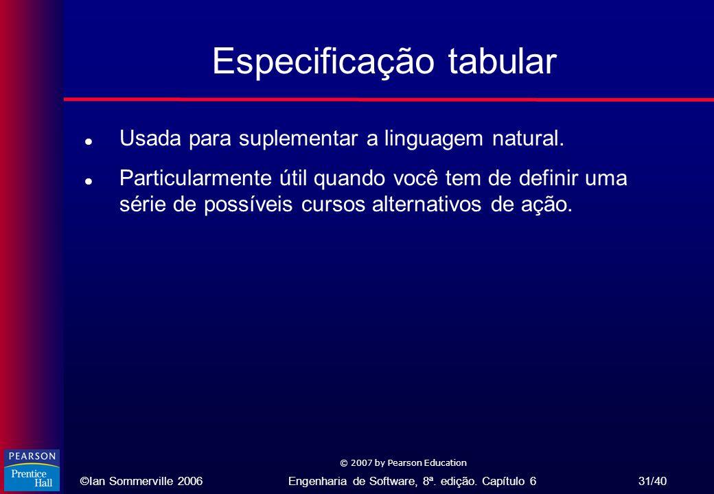 ©Ian Sommerville 2006Engenharia de Software, 8ª. edição. Capítulo 6 31/40 © 2007 by Pearson Education Especificação tabular l Usada para suplementar a