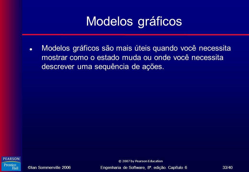 ©Ian Sommerville 2006Engenharia de Software, 8ª. edição. Capítulo 6 33/40 © 2007 by Pearson Education Modelos gráficos l Modelos gráficos são mais úte
