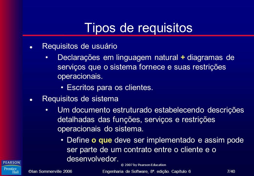©Ian Sommerville 2006Engenharia de Software, 8ª. edição. Capítulo 6 7/40 © 2007 by Pearson Education Tipos de requisitos l Requisitos de usuário Decla