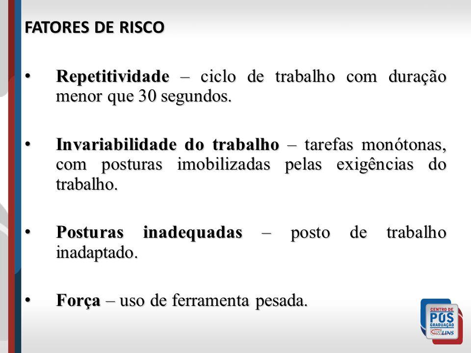 FATORES DE RISCO Repetitividade – ciclo de trabalho com duração menor que 30 segundos. Repetitividade – ciclo de trabalho com duração menor que 30 seg