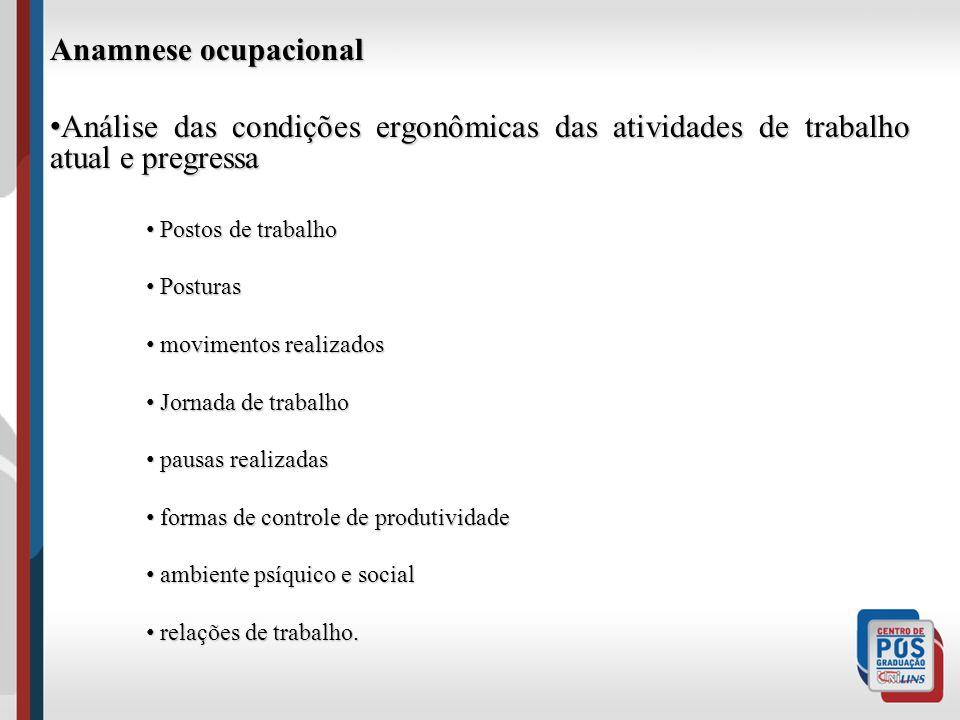 Anamnese ocupacional Análise das condições ergonômicas das atividades de trabalho atual e pregressa Análise das condições ergonômicas das atividades d