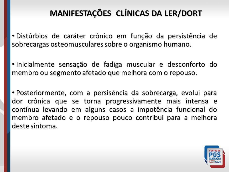 MANIFESTAÇÕES CLÍNICAS DA LER/DORT Distúrbios de caráter crônico em função da persistência de sobrecargas osteomusculares sobre o organismo humano. Di