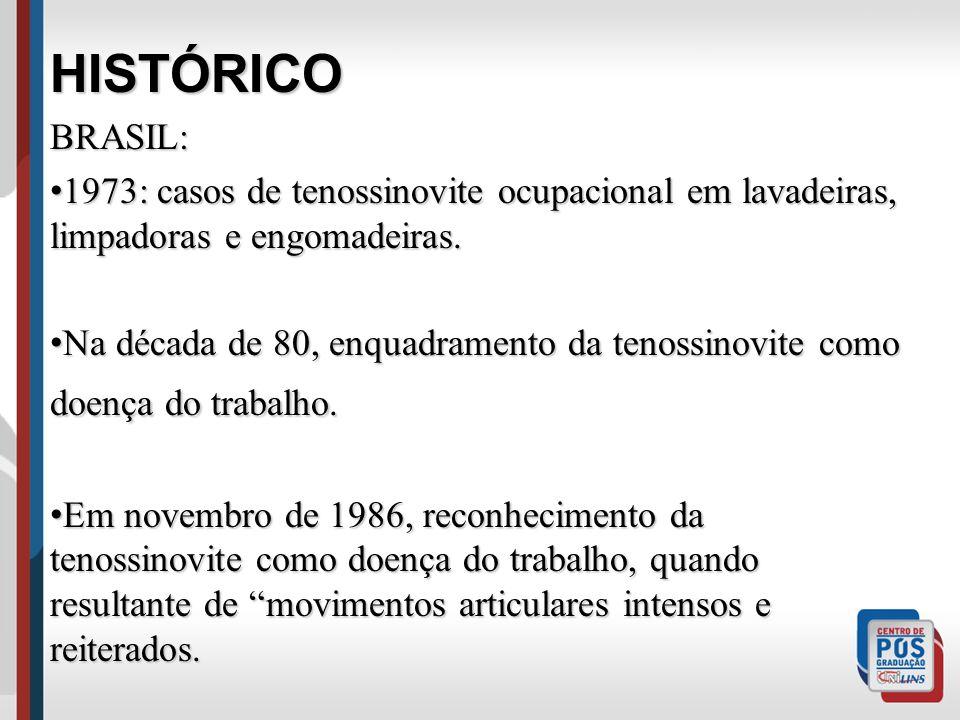 HISTÓRICOBRASIL: 1973: casos de tenossinovite ocupacional em lavadeiras, limpadoras e engomadeiras. 1973: casos de tenossinovite ocupacional em lavade