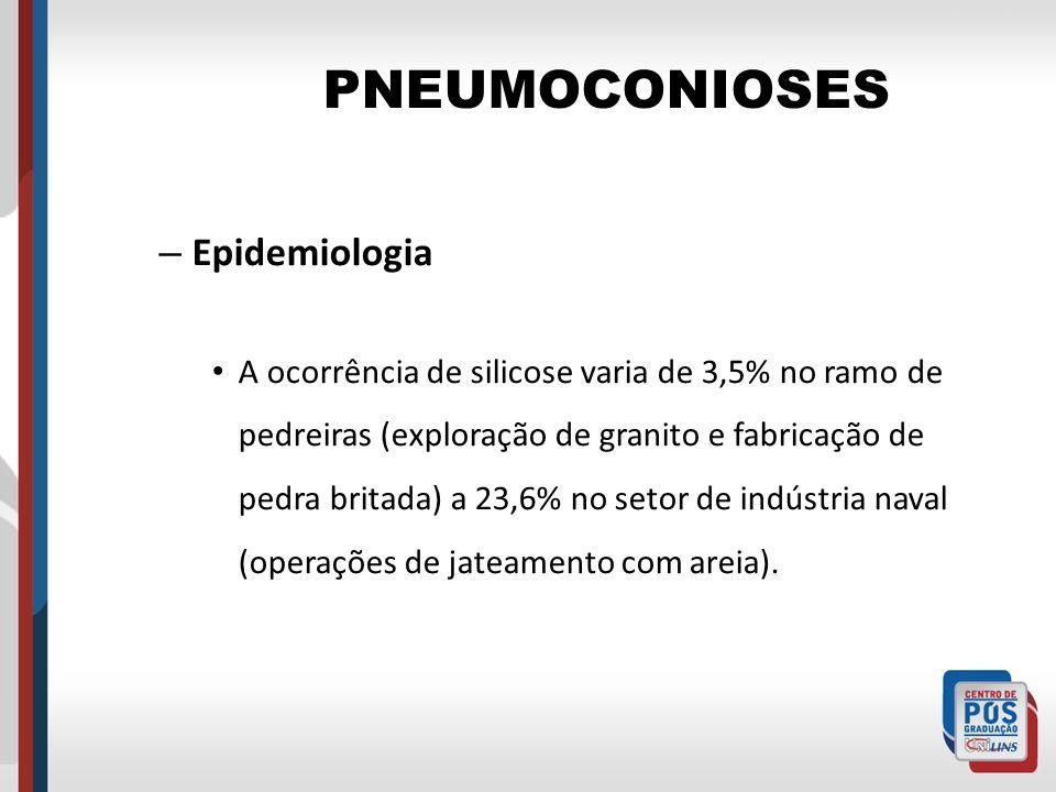 PNEUMOCONIOSES – Epidemiologia A ocorrência de silicose varia de 3,5% no ramo de pedreiras (exploração de granito e fabricação de pedra britada) a 23,