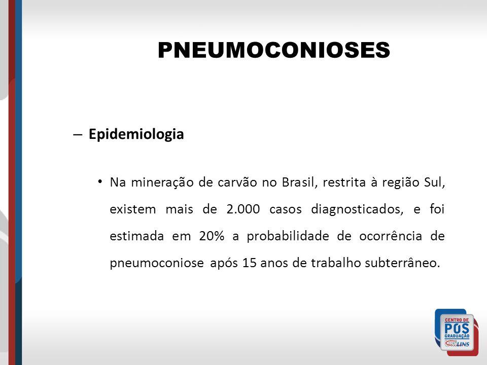 PNEUMOCONIOSES – Epidemiologia Na mineração de carvão no Brasil, restrita à região Sul, existem mais de 2.000 casos diagnosticados, e foi estimada em