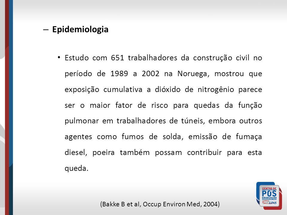 – Epidemiologia Estudo com 651 trabalhadores da construção civil no período de 1989 a 2002 na Noruega, mostrou que exposição cumulativa a dióxido de n