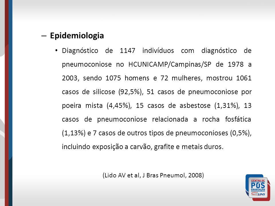 – Epidemiologia Diagnóstico de 1147 indivíduos com diagnóstico de pneumoconiose no HCUNICAMP/Campinas/SP de 1978 a 2003, sendo 1075 homens e 72 mulher