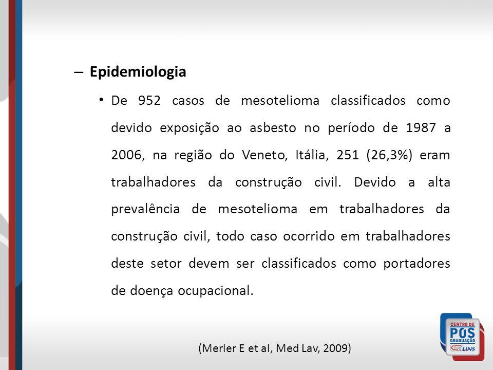 – Epidemiologia De 952 casos de mesotelioma classificados como devido exposição ao asbesto no período de 1987 a 2006, na região do Veneto, Itália, 251
