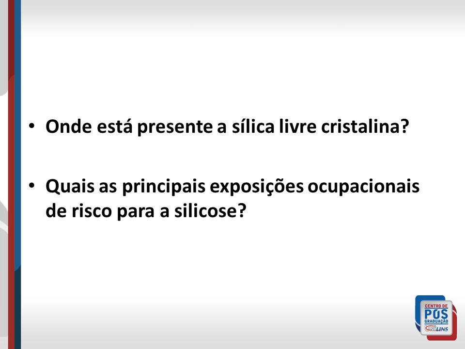 Onde está presente a sílica livre cristalina? Quais as principais exposições ocupacionais de risco para a silicose?