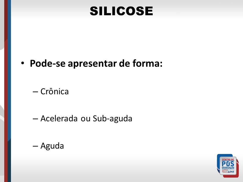 SILICOSE Pode-se apresentar de forma: – Crônica – Acelerada ou Sub-aguda – Aguda