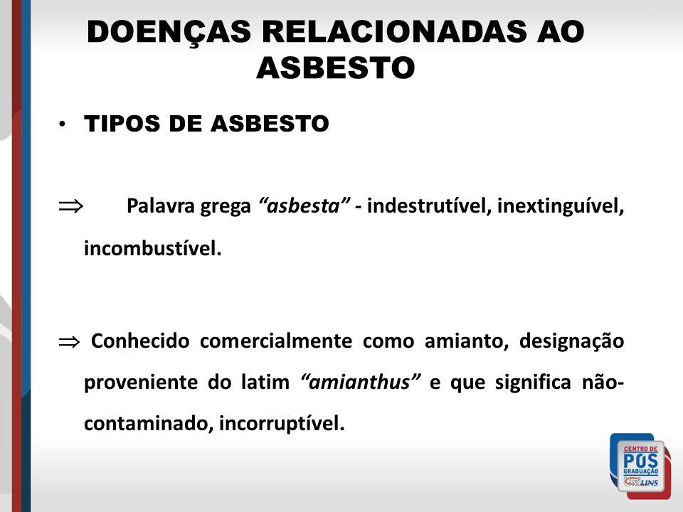 DOENÇAS RELACIONADAS AO ASBESTO TIPOS DE ASBESTO Palavra grega asbesta - indestrutível, inextinguível, incombustível. Conhecido comercialmente como am