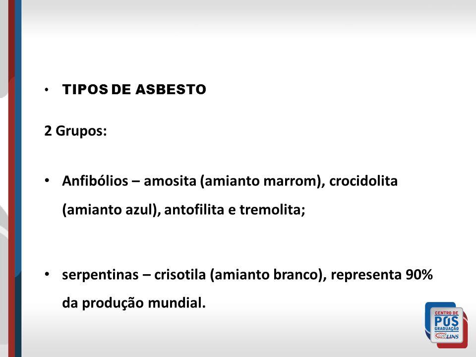 TIPOS DE ASBESTO 2 Grupos: Anfibólios – amosita (amianto marrom), crocidolita (amianto azul), antofilita e tremolita; serpentinas – crisotila (amianto