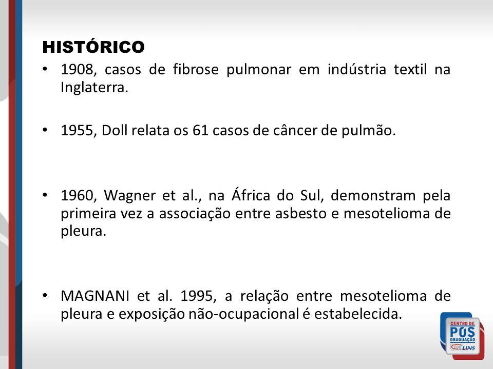 HISTÓRICO 1908, casos de fibrose pulmonar em indústria textil na Inglaterra. 1955, Doll relata os 61 casos de câncer de pulmão. 1960, Wagner et al., n