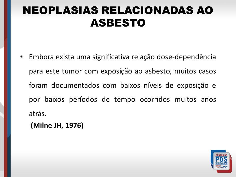 NEOPLASIAS RELACIONADAS AO ASBESTO Embora exista uma significativa relação dose-dependência para este tumor com exposição ao asbesto, muitos casos for