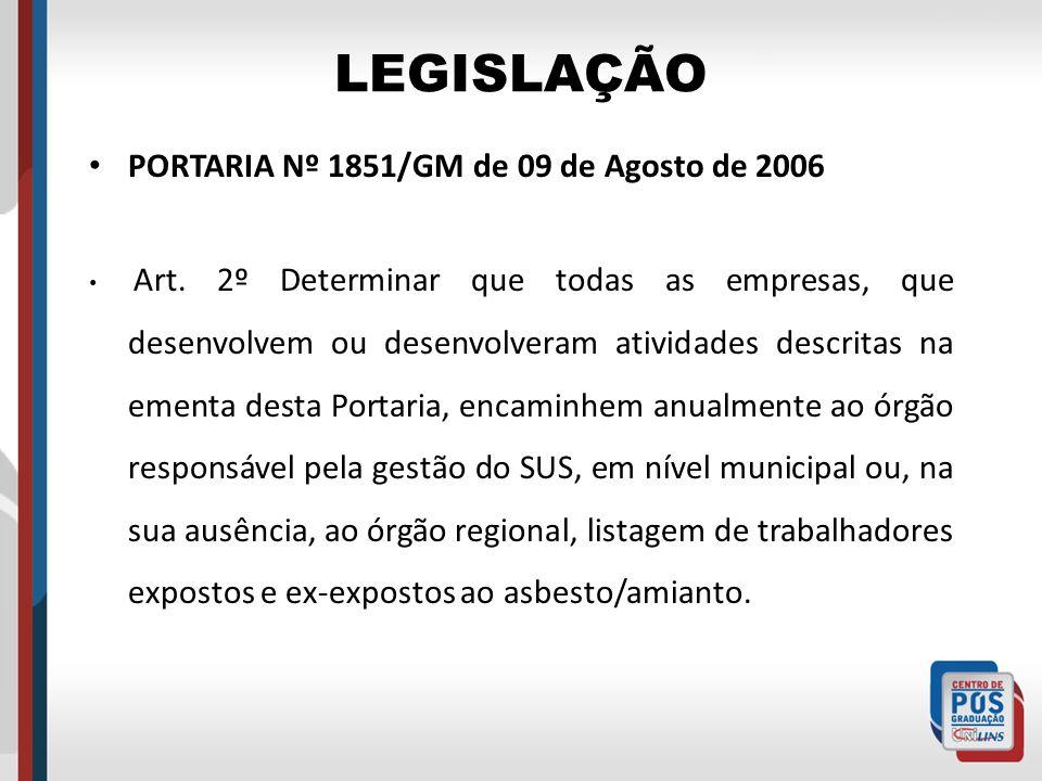 LEGISLAÇÃO PORTARIA Nº 1851/GM de 09 de Agosto de 2006 Art. 2º Determinar que todas as empresas, que desenvolvem ou desenvolveram atividades descritas