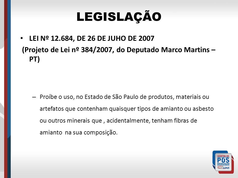 LEGISLAÇÃO LEI Nº 12.684, DE 26 DE JUHO DE 2007 (Projeto de Lei nº 384/2007, do Deputado Marco Martins – PT) – Proíbe o uso, no Estado de São Paulo de