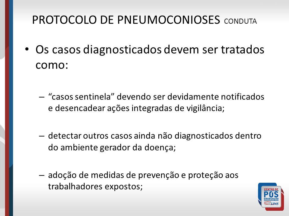 PROTOCOLO DE PNEUMOCONIOSES CONDUTA Os casos diagnosticados devem ser tratados como: – casos sentinela devendo ser devidamente notificados e desencade