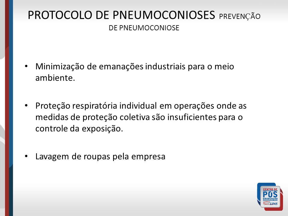 PROTOCOLO DE PNEUMOCONIOSES PREVEN Ç ÃO DE PNEUMOCONIOSE Minimização de emanações industriais para o meio ambiente. Proteção respiratória individual e
