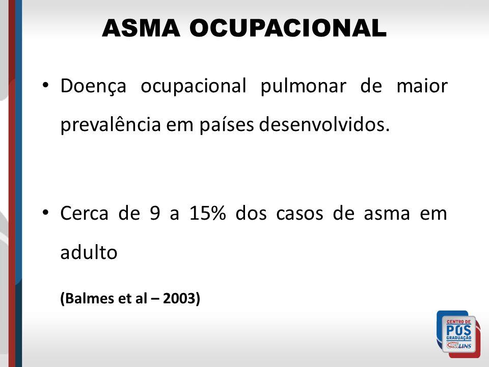 ASMA OCUPACIONAL Doença ocupacional pulmonar de maior prevalência em países desenvolvidos. Cerca de 9 a 15% dos casos de asma em adulto (Balmes et al