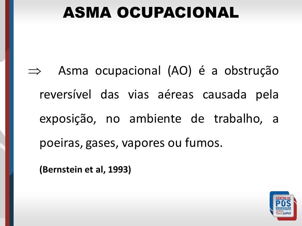 ASMA OCUPACIONAL Asma ocupacional (AO) é a obstrução reversível das vias aéreas causada pela exposição, no ambiente de trabalho, a poeiras, gases, vap