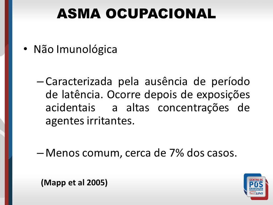 ASMA OCUPACIONAL Não Imunológica – Caracterizada pela ausência de período de latência. Ocorre depois de exposições acidentais a altas concentrações de