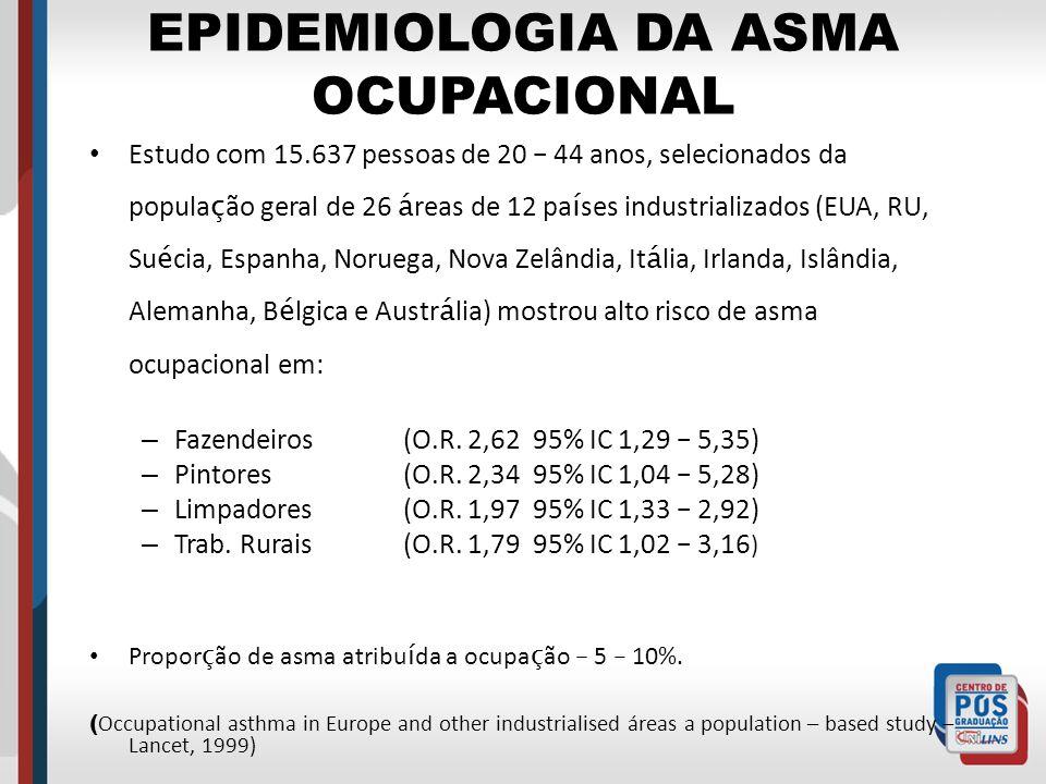 EPIDEMIOLOGIA DA ASMA OCUPACIONAL Estudo com 15.637 pessoas de 20 – 44 anos, selecionados da popula ç ão geral de 26 á reas de 12 pa í ses industriali