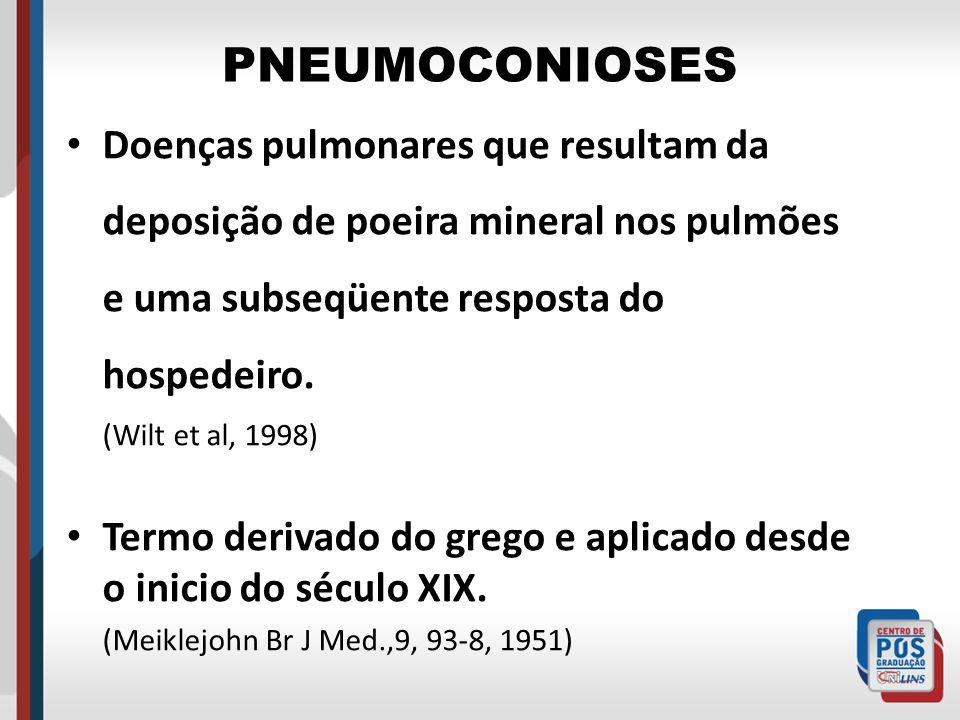 PNEUMOCONIOSES Doenças pulmonares que resultam da deposição de poeira mineral nos pulmões e uma subseqüente resposta do hospedeiro. (Wilt et al, 1998)