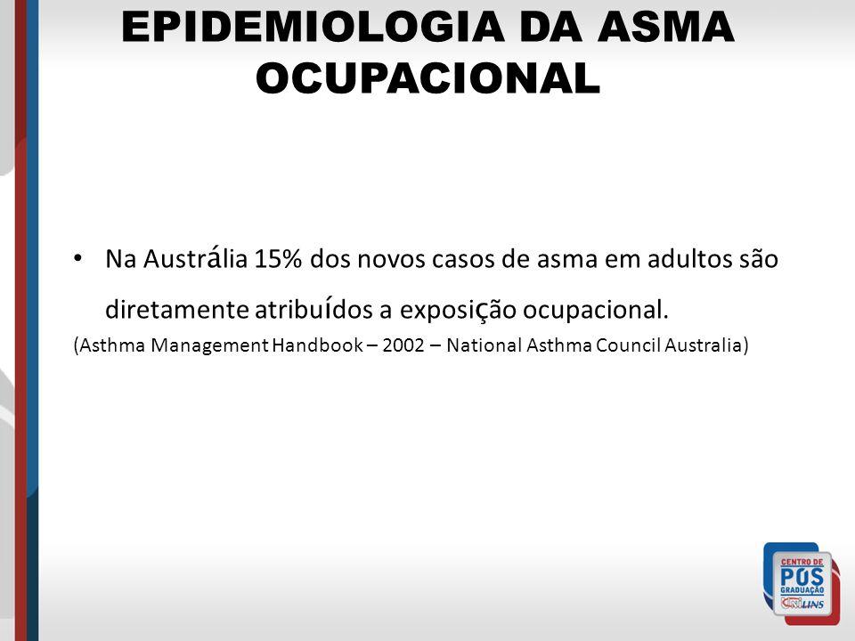 EPIDEMIOLOGIA DA ASMA OCUPACIONAL Na Austr á lia 15% dos novos casos de asma em adultos são diretamente atribu í dos a exposi ç ão ocupacional. (Asthm