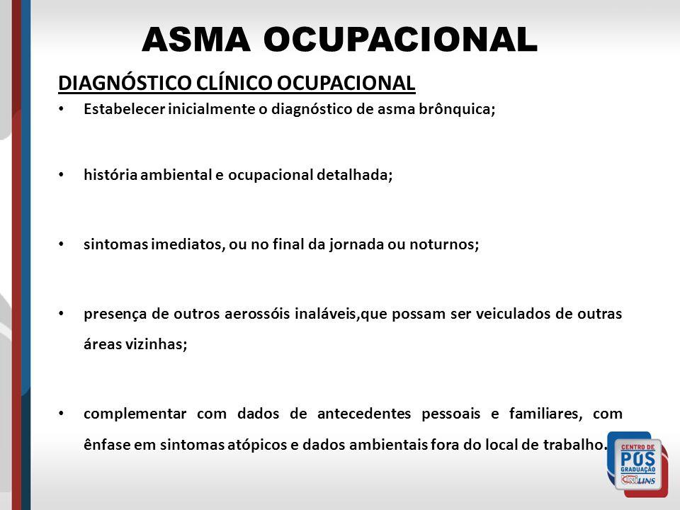 ASMA OCUPACIONAL DIAGNÓSTICO CLÍNICO OCUPACIONAL Estabelecer inicialmente o diagnóstico de asma brônquica; história ambiental e ocupacional detalhada;