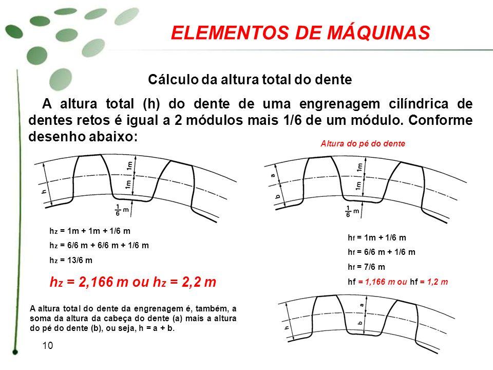 10 ELEMENTOS DE MÁQUINAS Cálculo da altura total do dente A altura total (h) do dente de uma engrenagem cilíndrica de dentes retos é igual a 2 módulos