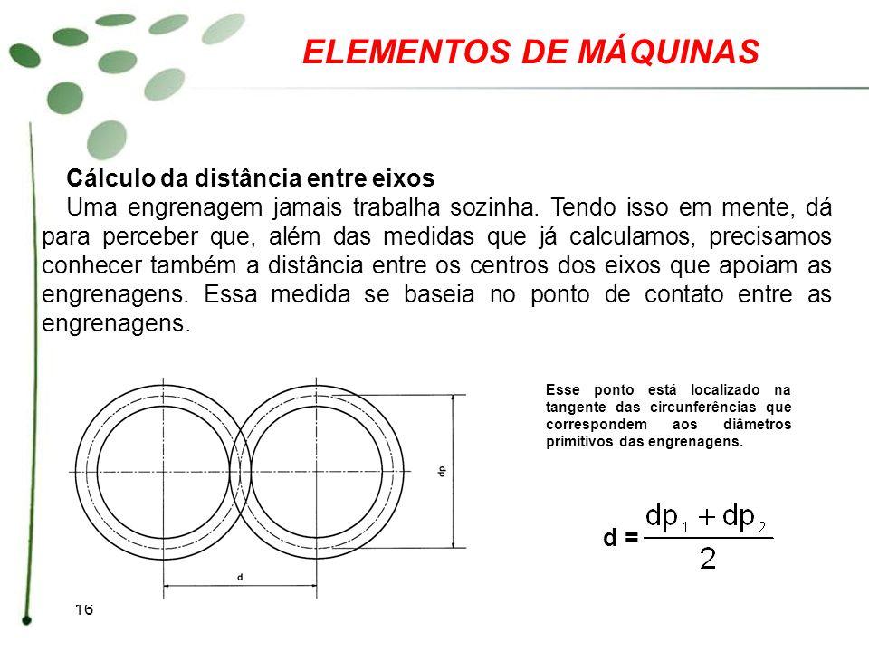16 ELEMENTOS DE MÁQUINAS Esse ponto está localizado na tangente das circunferências que correspondem aos diâmetros primitivos das engrenagens. d = Cál