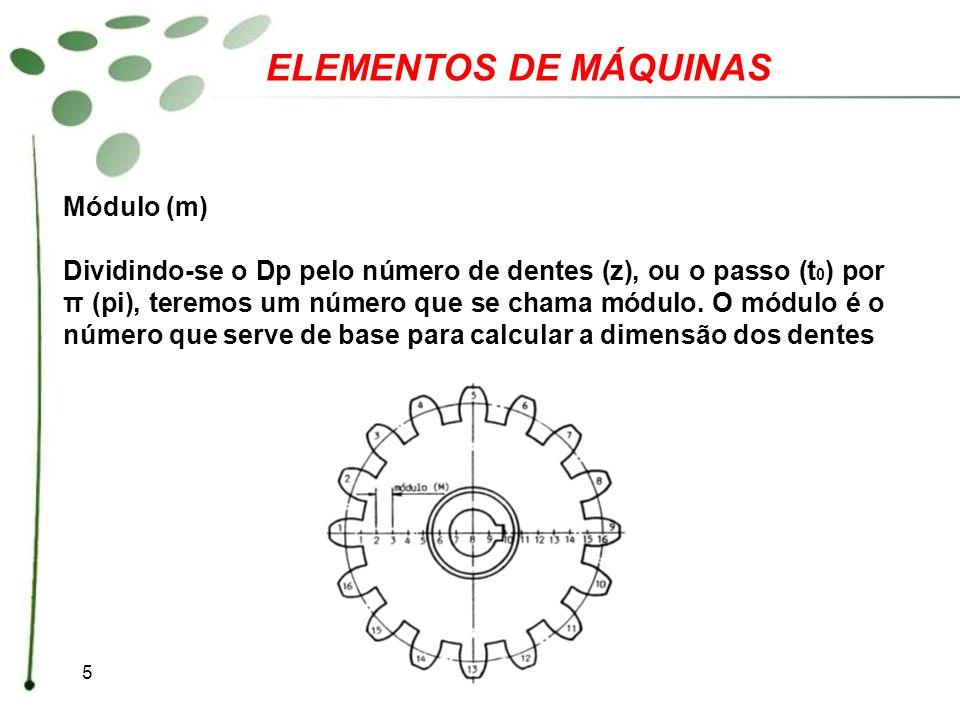 5 ELEMENTOS DE MÁQUINAS Módulo (m) Dividindo-se o Dp pelo número de dentes (z), ou o passo (t 0 ) por π (pi), teremos um número que se chama módulo. O