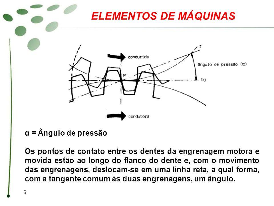 6 ELEMENTOS DE MÁQUINAS α = Ângulo de pressão Os pontos de contato entre os dentes da engrenagem motora e movida estão ao longo do flanco do dente e,