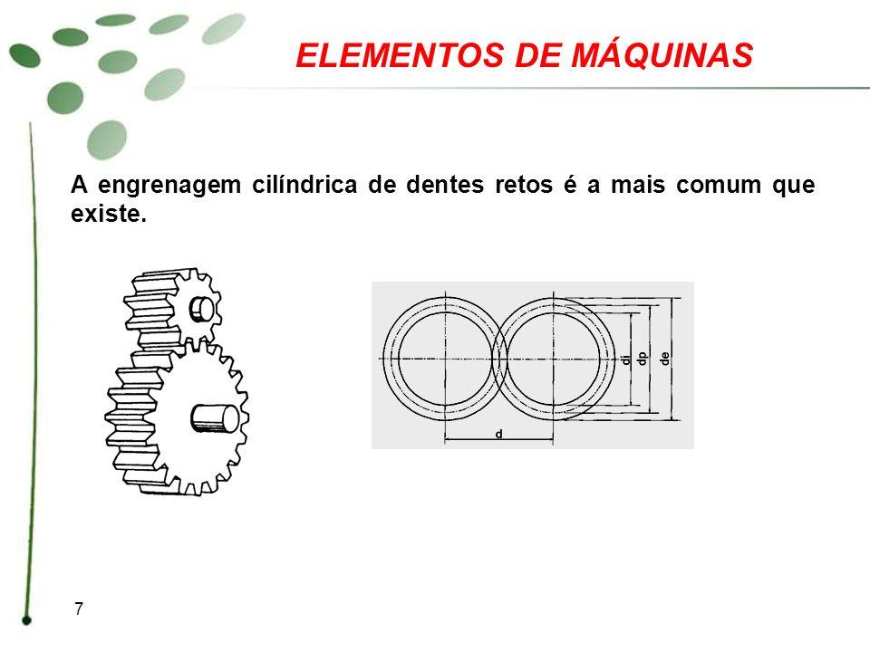 8 ELEMENTOS DE MÁQUINAS Cálculo do diâmetro externo O diâmetro externo é igual ao diâmetro primitivo (d 0 ) mais duas vezes a altura da cabeça do dente (h k ) que, por sua vez, é igual a um módulo.