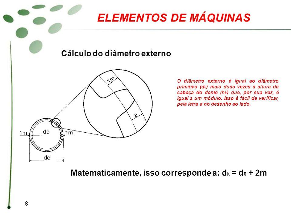 19 ELEMENTOS DE MÁQUINAS Gabarito 1.dp = 270mm 2.Z = 60 3.m = 1,5 4.de = 154mm 5.h = 3,79mm 6.m = 2 7.b = 1,75mm 8.m = 3 9.di = 71,50mm 10.di = 71,50mm 11.m = 1 12.p = 9,42mm 13.m = 4 14.d = 210mm 15.dp = 180mm, de = 188mm, di = 170,68mm h = 8,664mm, a = 4mm, b = 4,664mm, p = 12,56mm 16.m = 4, dp = 80mm, di = 70,68mm, h = 8,664mm, a = 4mm, b = 4,664mm, p = 12,56mm 17.d = 130mm
