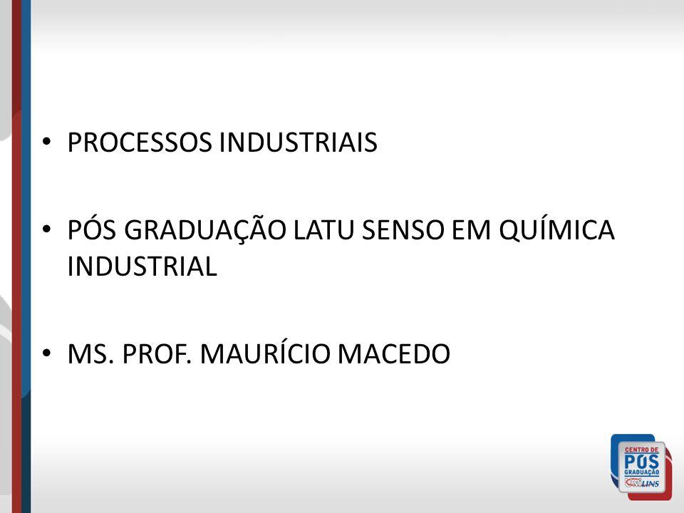 PROCESSOS INDUSTRIAIS PÓS GRADUAÇÃO LATU SENSO EM QUÍMICA INDUSTRIAL MS. PROF. MAURÍCIO MACEDO