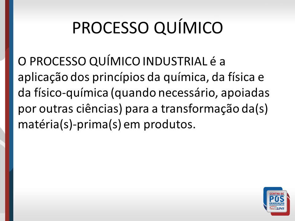 PROCESSO QUÍMICO O PROCESSO QUÍMICO INDUSTRIAL é a aplicação dos princípios da química, da física e da físico-química (quando necessário, apoiadas por