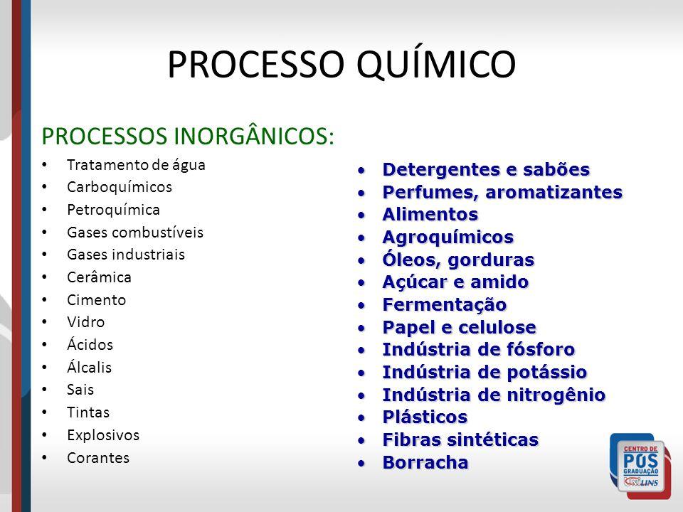PROCESSO QUÍMICO PROCESSOS INORGÂNICOS: Tratamento de água Carboquímicos Petroquímica Gases combustíveis Gases industriais Cerâmica Cimento Vidro Ácid