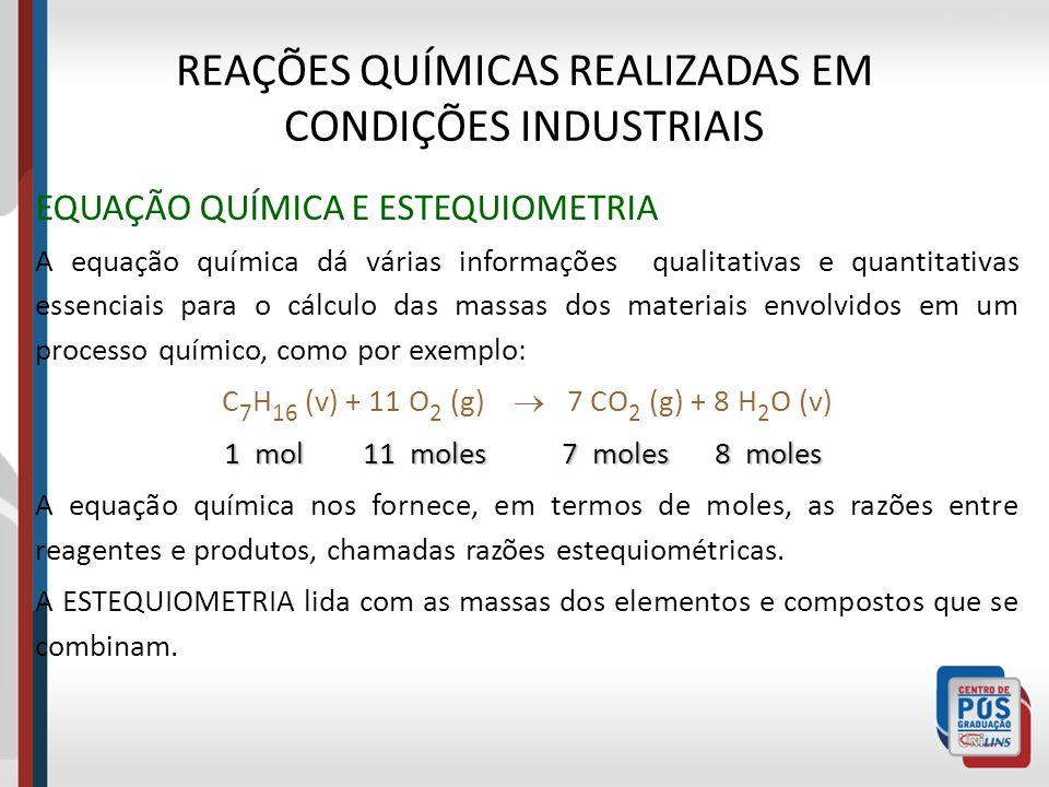 REAÇÕES QUÍMICAS REALIZADAS EM CONDIÇÕES INDUSTRIAIS EQUAÇÃO QUÍMICA E ESTEQUIOMETRIA A equação química dá várias informações qualitativas e quantitat