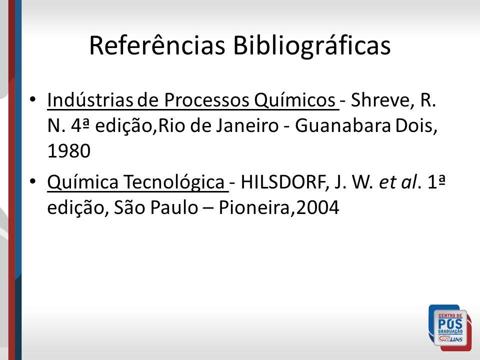 Referências Bibliográficas Indústrias de Processos Químicos - Shreve, R. N. 4ª edição,Rio de Janeiro - Guanabara Dois, 1980 Química Tecnológica - HILS