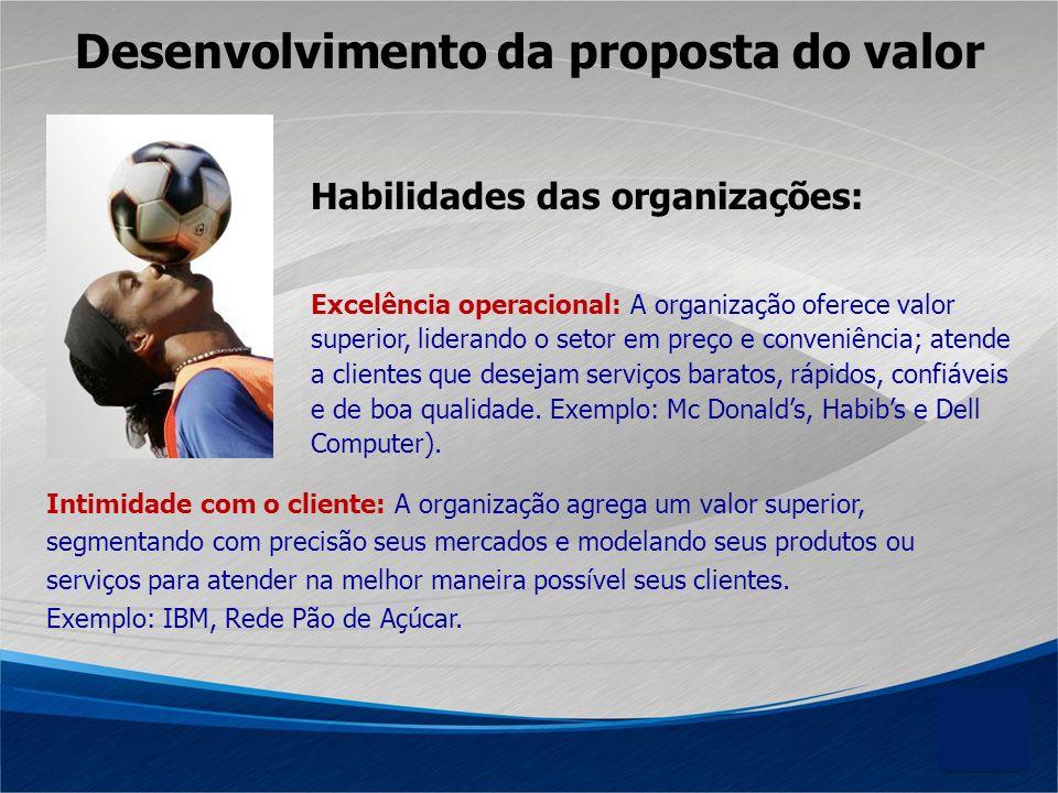 Habilidades das organizações: Intimidade com o cliente: A organização agrega um valor superior, segmentando com precisão seus mercados e modelando seu