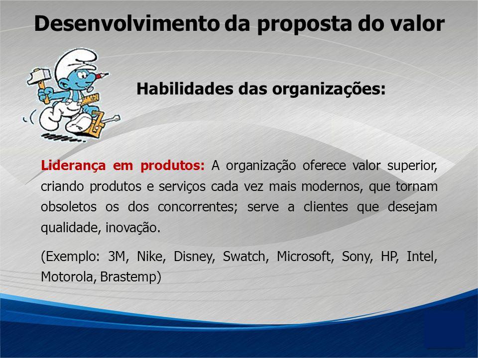 Habilidades das organizações: Liderança em produtos: A organização oferece valor superior, criando produtos e serviços cada vez mais modernos, que tor