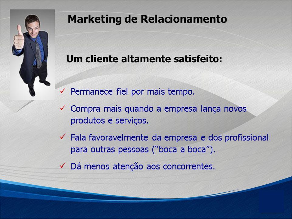 Marketing de Relacionamento Permanece fiel por mais tempo. Compra mais quando a empresa lança novos produtos e serviços. Fala favoravelmente da empres