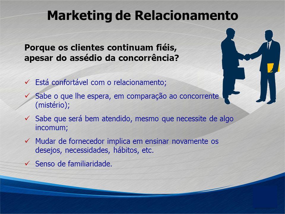 Marketing de Relacionamento Porque os clientes continuam fiéis, apesar do assédio da concorrência? Está confortável com o relacionamento; Sabe o que l