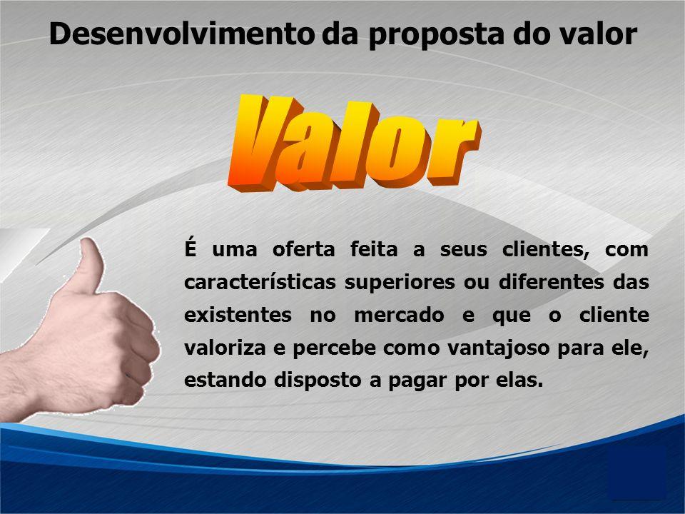 Desenvolvimento da proposta do valor É uma oferta feita a seus clientes, com características superiores ou diferentes das existentes no mercado e que