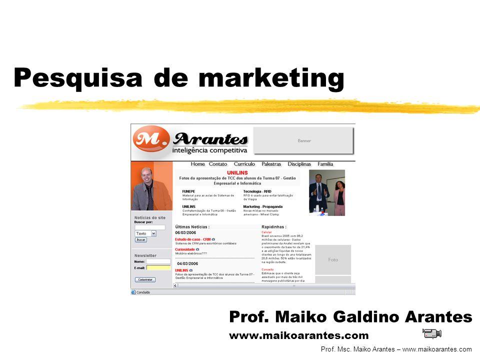 Prof. Msc. Maiko Arantes – www.maikoarantes.com Pesquisa de marketing Prof. Maiko Galdino Arantes www.maikoarantes.com