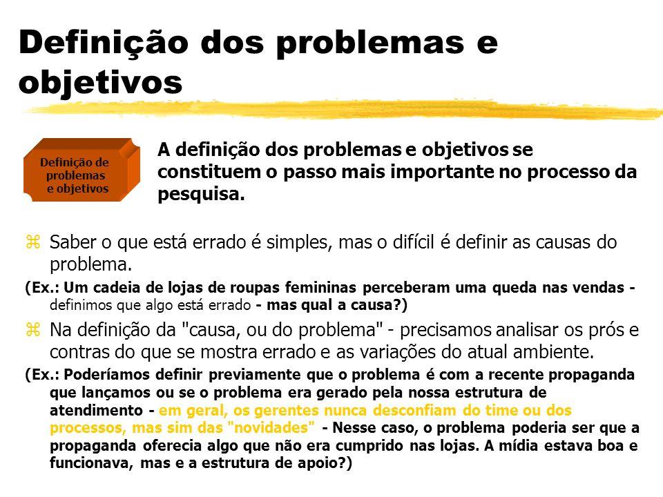 Definição dos problemas e objetivos A definição dos problemas e objetivos se constituem o passo mais importante no processo da pesquisa. zSaber o que