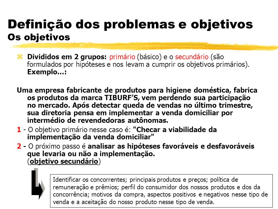 Definição dos problemas e objetivos Os objetivos zDivididos em 2 grupos: primário (básico) e o secundário (são formulados por hipóteses e nos levam a cumprir os objetivos primários).