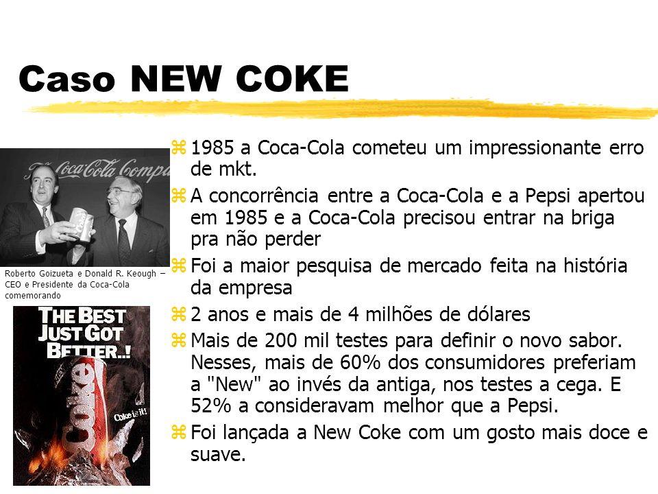 Caso NEW COKE z1985 a Coca-Cola cometeu um impressionante erro de mkt. zA concorrência entre a Coca-Cola e a Pepsi apertou em 1985 e a Coca-Cola preci